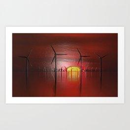 Windmills in the Sun (Digital Art) Art Print