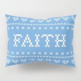 FAITH faux cross stitch sampler on light blue Pillow Sham