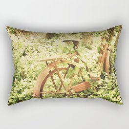 Ole Rusty Bicycle Abandoned Urban Exploration Urbex Taken Over by Nature  Rectangular Pillow
