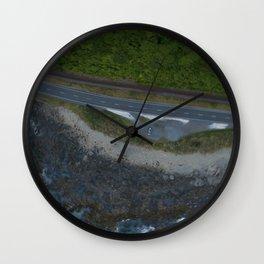 kaikoura coastline vertical view by drone camper serpentines Wall Clock