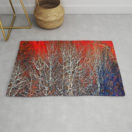 White Trees in Red Rocks Colorado USA  Rug