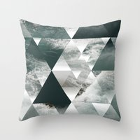 polygon Throw Pillows featuring Waves polygon by cat&wolf