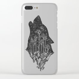 Adventure Wolf - Nature Mountains Wolves Howling Design Black on Turquoise Blue Clear iPhone Case