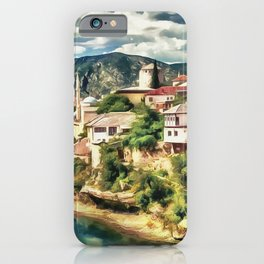 Mostar Old Bridge painting, old city of Mostar scenery, Stari Most Bosnia, nature travel art poster iPhone Case