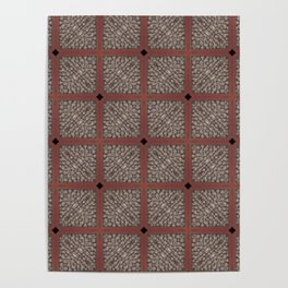 Rich Silver Wood Stone Textured Patten Abstract Poster