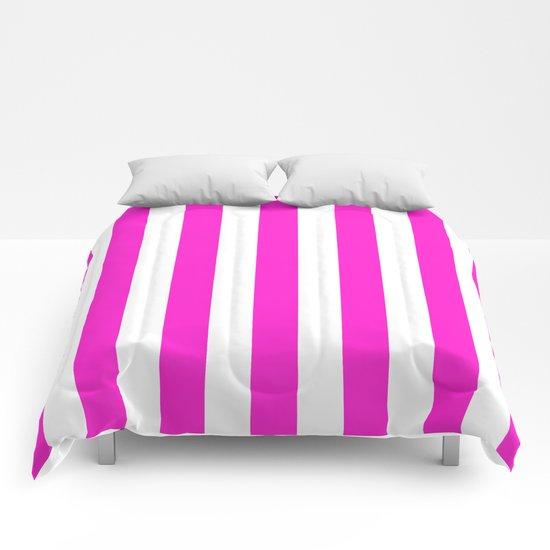 Vertical Stripes (Hot Magenta/White) Comforters