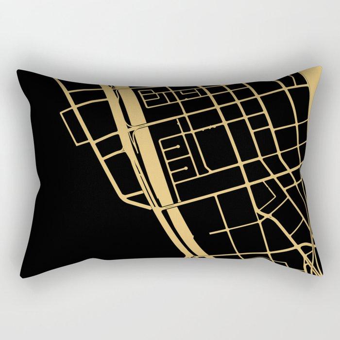 Toronto Map 1 - Gold on Black Rectangular Pillow