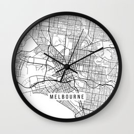 Melbourne Map, Australia - Black and White Wall Clock