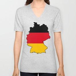 Germany Map with German Flag Unisex V-Neck