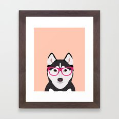 Kamri - Siberian Husky with Pink Hipster Glasses, Cute Retro Dog, Dog, Husky with Glasses, Funny Dog Framed Art Print