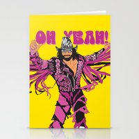 randy c Stationery Cards featuring Macho Man Randy Savage by Milos Cakovan