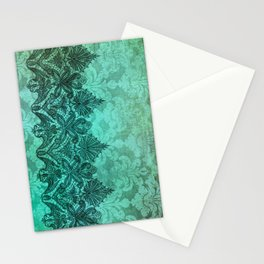 ABERDEEN HEIRLOOM, LACE & DAMASK: ARTISTIC AQUA Stationery Cards