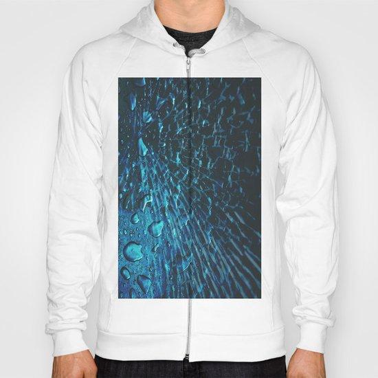 Broken Glass & Raindrops Electric Blue Design  Hoody