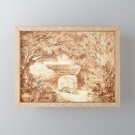 Hubert Robert - The Artist Drawing in the Farnese Gardens Framed Mini Art Print