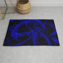Glowing web of blue cosmic lines of energy and a mystical smoke screen on a black background. Rug