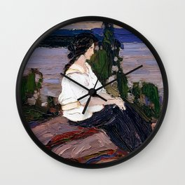 Tom Thomson - Figure of a Lady, Laura - Canada, Canadian Oil Painting - Group of Seven  Wall Clock