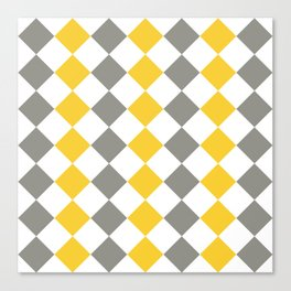 Gray and yellow square pattern Canvas Print
