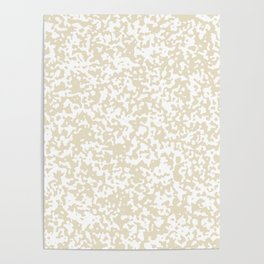 Small Spots - White and Pearl Brown Poster