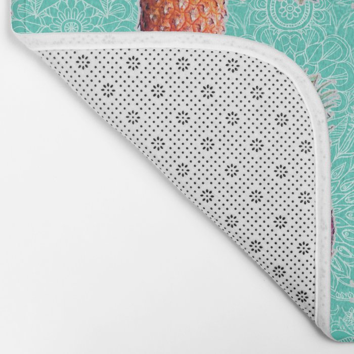 From Pineapple to Pink - tropical doodle pattern on mint Bath Mat