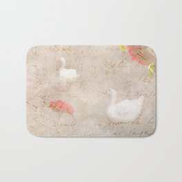 Geese, clouds, roses, vintage calligraphy Bath Mat