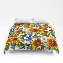 Navy blue yellow orange watercolor sunflower floral Comforters