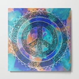 Tie-Dye Peace Mandala Neg Metal Print