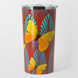 YELLOW ART DECO BUTTERFLIES & CUMIN COLOR ART Travel Mug