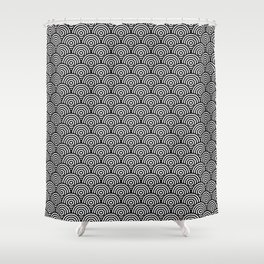 Black Concentric Circle Pattern Shower Curtain