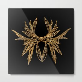 Glitter golden plant line artwork on black Metal Print