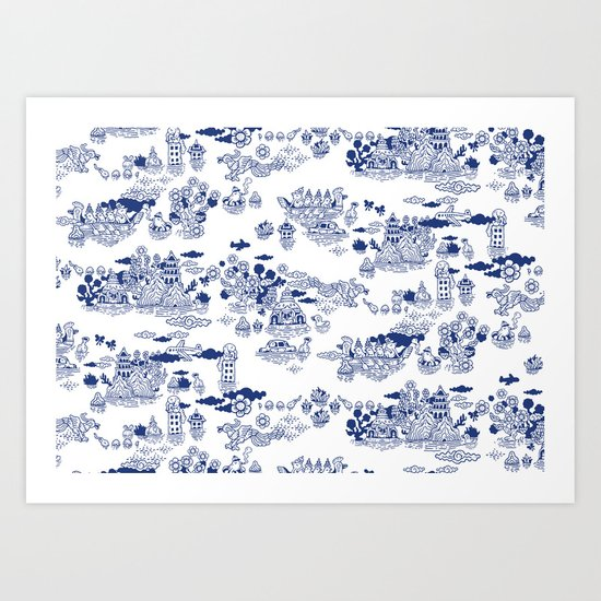 FLOOD IN ANTIQUE CHINESE PORCELAIN Art Print