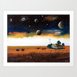 A spacecraft and earth number ... Prairie plain Art Print