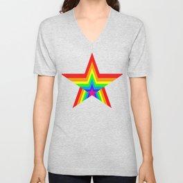 Bright Hypnotic Rainbow Pride Star Unisex V-Neck
