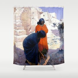 "William Leigh Western Art ""Baking Pottery"" Shower Curtain"