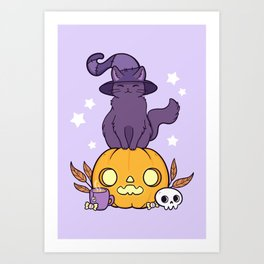 Pumpkin Cat Art Print