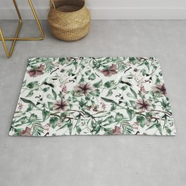 Asian pattern of crane and flowers Rug