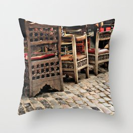 Chairs & Cobbledstone Throw Pillow