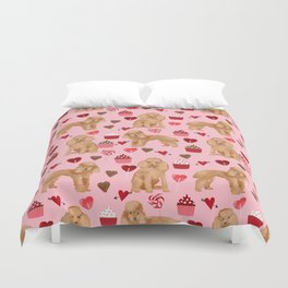 Toy Poodle apricot love cupcakes valentines day hearts dog breed pet portrait dog breeds poodles Duvet Cover