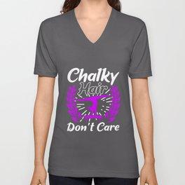 Chalky Hair Don't Care Unisex V-Neck