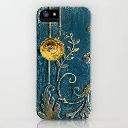 Original Art - A Piece of Versailles Blue & Gold Gilding Art Block iPhone Case