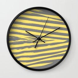 Yellow & Gray Stripes Wall Clock