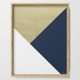 Gold meets Navy Blue & White Geometric #1 #minimal #decor #art #society6 Serving Tray