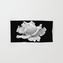 White Rose On Black Hand & Bath Towel