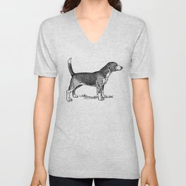 Curious Beagle Dog Unisex V-Neck