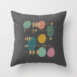 Mid Century Modern Atomic in Grey Throw Pillow