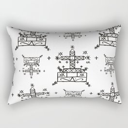 Baron Samedi Voodoo Veve Symbols in White Rectangular Pillow