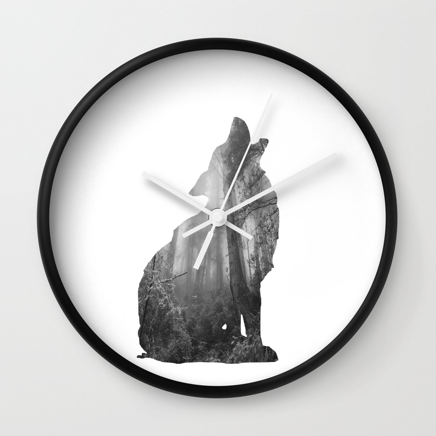 Wolf silhouette forest photography black and white wall clock
