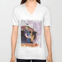 saxophone V-neck T-shirts featuring Playing saxophone by aurora villaviejas