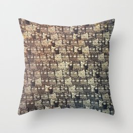 cats in owl 590 Throw Pillow