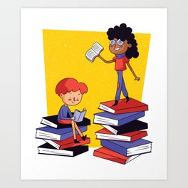 Books and children Art Print