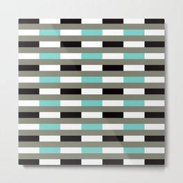 Geometric Pattern 67 (turquoise black gray lines) Metal Print